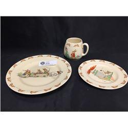 Vintage Royal Doulton Bunnykins Large Plate, Small Plate and Mug. Large Plate has a Small Chip Barba