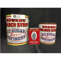 2 Vintage Rogers Golden Syrup Tins and a Prince Albert Tobacco Tin