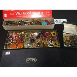 3 Boxes Full of Vintage Costume Jewelry