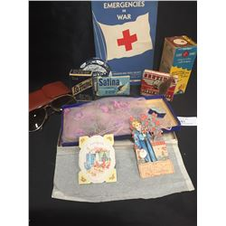 Vintage Lot of Tins. First Aid Related,Book,Sunglasses, Cards ETC