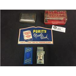 Vintage Shaving Lot. Gillette Razors,Blades,Soapdish, Plus a Purity Flour Promotional Savings Book/K