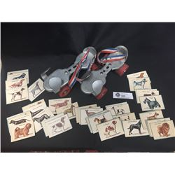 Pair of Vintage Roller Blades and a Complete set of 45 Dog Picture Cards that you got by Buying Dog