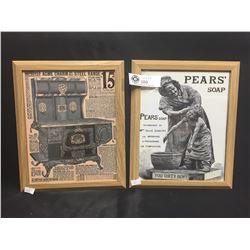 2 Vintage Advertisments in Wood Frames. Pears Soap, Acme Charm Steel Rangers