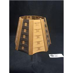 "Mid Century Woven Wood Lamp Shade 7.5"" Tall 10.5"" diameter"