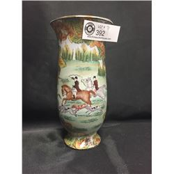 """Very Nice Asian Vase Horse Scene Hand Painted 8.5"""" Tall Originally Sold at The Bay. No Chips or Crac"""