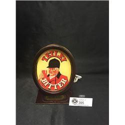 "Vintage ""Tetley Bitter""Bar Light Small English ( Beer Keg) Wood Beer Light. 7.25'H x 4.75"" w x 4.25"""