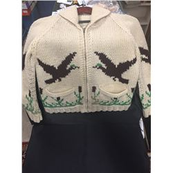 """Flying Ducks Vintage Knitted Thick Wool Sweater. Good Working Zipper 16"""" Armpit to Cuff, 42"""" W at bo"""