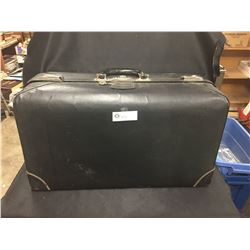 Vintage Black Leather Suitcase with Key. 28 w x4T x 8 deep