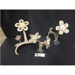 3 Carved Antler Pieces Turned into Flowers. Very Fragile. 1 Petal is Broken and Needs Glue. Not Noti