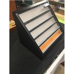 """Metal Display Case Pexiglass Front. Back has a place for a Lock.. Chip out of Bottom Corner. 18"""" w X"""