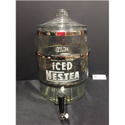 "Vintage Glass Nestea TV Advertising Jug with Spigot. 14"" H x 12"" w in Nice Condition"
