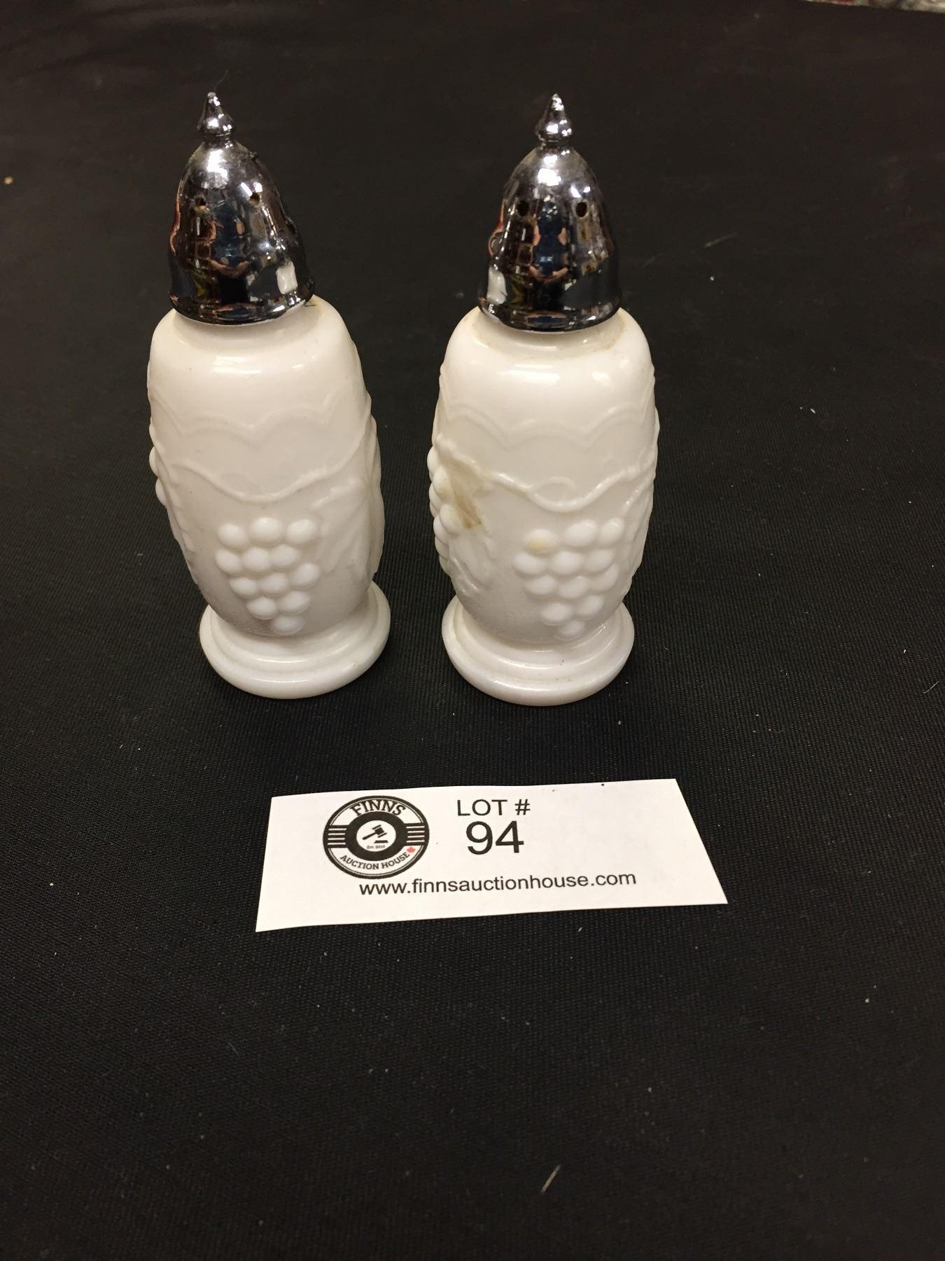 Vintage Milk Glass Salt And Pepper Shakers Grape Pattern Original Cork