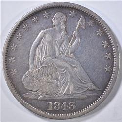 1843-O SEATED LIBERTY HALF DOLLAR XF/AU