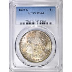 1890-O MORGAN DOLLAR PCGS MS-64 GREAT COLOR