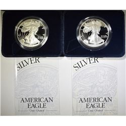 2001 & 02 PROOF AMERICAN SILVER EAGLES