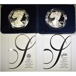 2005 & 06 PROOF AMERICAN SILVER EAGLES