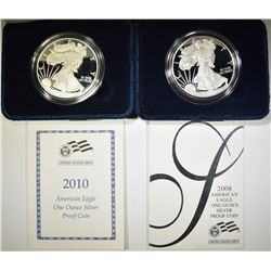 2008 & 10 PROOF AMERICAN SILVER EAGLES