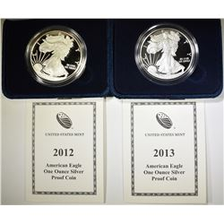 2012 & 13 PROOF AMERICAN SILVER EAGLES