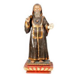Spanish Colonial carved figure of a saint