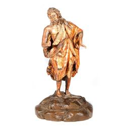 Spanish Colonial carved figure of St. John the Baptist
