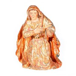 Spanish Colonial carved figure of a female saint