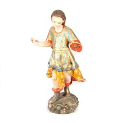 Spanish Colonial carved figure of a male saint