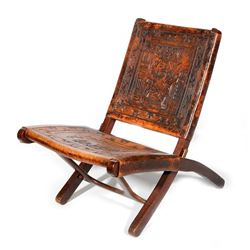 Peruvian wood and leather chair