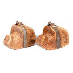 Pair of Chilean carved wood stirrups