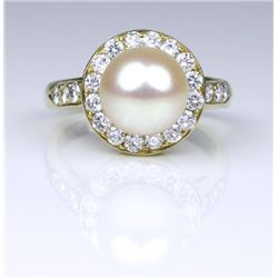 19CAI-11 PEARL & DIAMOND RING