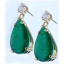 19CAI-2 EMERALD & DIAMOND DANGLE EARRINGS