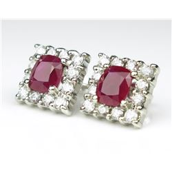 19CAI-3 BURMESE RUBY & DIAMOND EARRINGS