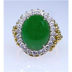 19CAI-16 GREEN JADE & DIAMOND RING