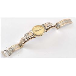 19OX- 37 MEXICAN SILVER + 10K GOLD WATCH
