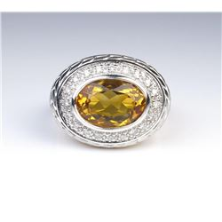 19CAI-64 CITRINE & DIAMOND RING