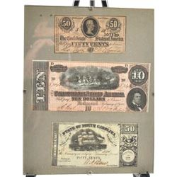 1905- 23 CONFEDERATE NOTES FRAMED
