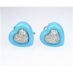 19CAI-69 TURQUOISE & DIAMOND EARRINGS