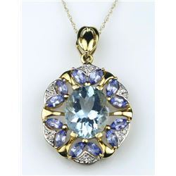 19CAI-67 MULTI-GEM  & DIAMOND PENDANT