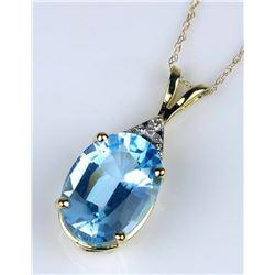 19CAI-71 BLUE TOPAZ & DIAMOND PENDANT