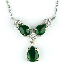 19CAI-44 GREEN JADE & DIAMOND PENDANT