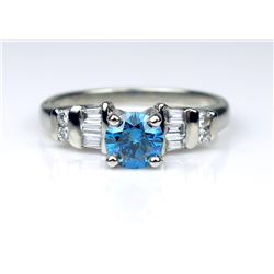19CAI-41 BLUE & WHITE DIAMOND RING
