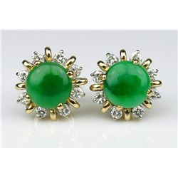 19CAI-65 GREEN JADE & DIAMOND EARRINGS