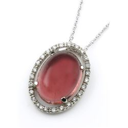 19CAI-49 PINK TOURMALINE & DIAMOND HALO PENDANT
