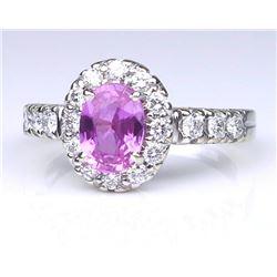 19CAI-28 PINK SAPPHIRE & DIAMOND RING