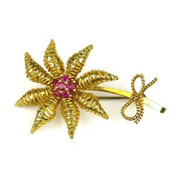 19CAI-29 TIFFANY & CO. SUNFLOWER RUBY BROOCH