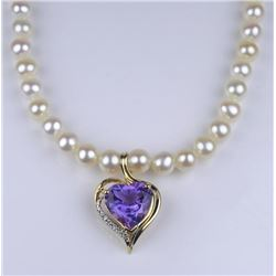 19CAI-37 PEARL NECKLACE W/AMETHYST & DIAMOND