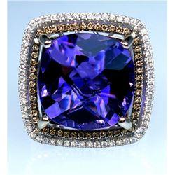 19CAI-23 AMETHYST & DIAMOND RING