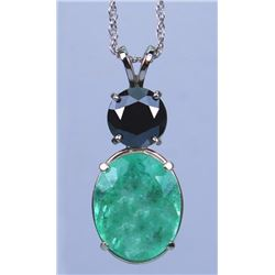 19CAI-24 EMERALD & BLACK DIAMOND PENDANT