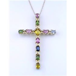 19CAI-52 MULTI-COLORED SAPPHIRE CROSS