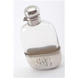 19RN-3 STERLING SILVER & GLASS FLASK
