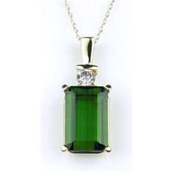 19CAI-60 GREEN TOURMALINE & DIAMOND PENDANT